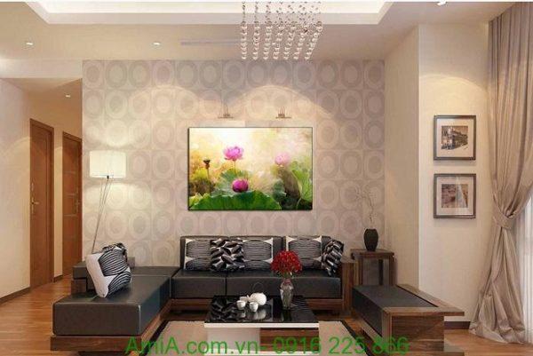 Hình ảnh Tranh hoa sen nghệ thuật một tấm trang trí phòng khách