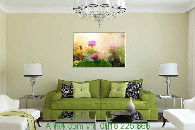 Hình ảnh Tranh hoa sen nghệ thuật một tấm treo phòng khách