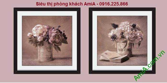 Hình ảnh tranh khung ghép bộ hoa lá