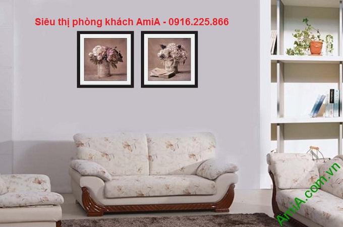 Hình ảnh tranh khung ghép bộ hoa lá thiết kế vintage đặt treo phòng khách