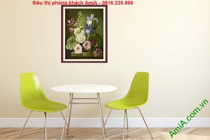 Hình ảnh Tranh khung trang trí phòng ăn hiện đại khóm hoa