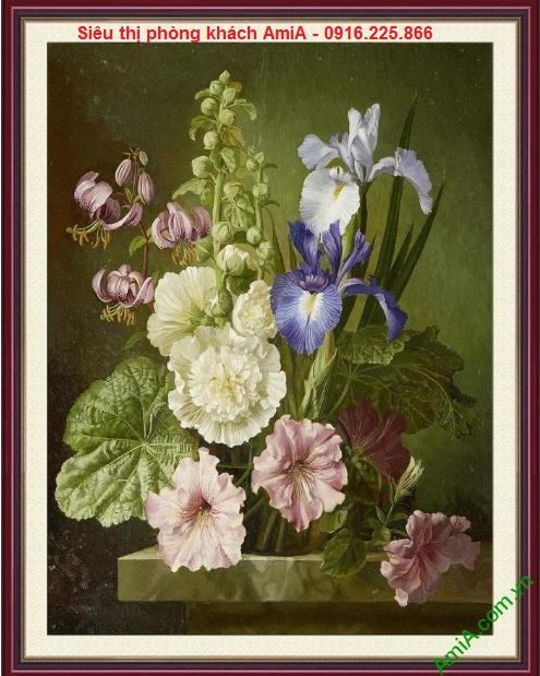 Hình ảnh mẫu Tranh khung trang trí phòng khách khóm hoa amia 759