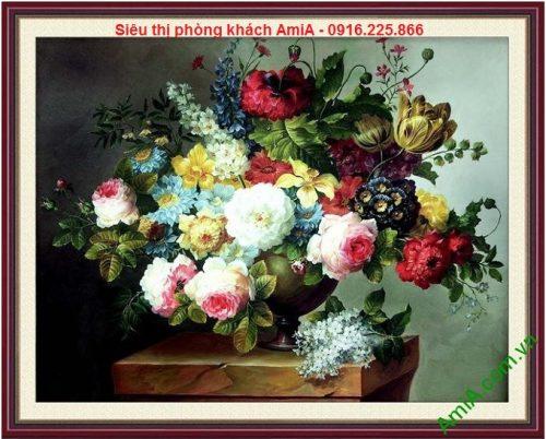 Mẫu thiết kế tranh nghệ thuật bình hoa bốn mùa