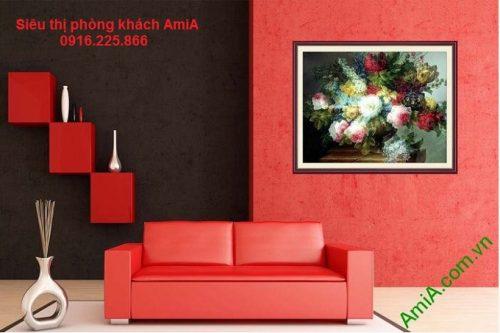Tranh nghệ thuật bình hoa bốn mùa trang trí phòng khách sang trọng