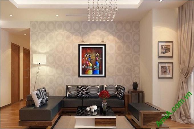 Hình ảnh Tranh nghệ thuật trang trí trừu tượng treo phòng khách