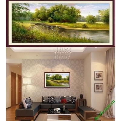 Hình ảnh mẫu Tranh phong cảnh đẹp dòng sông thanh bình amia 773