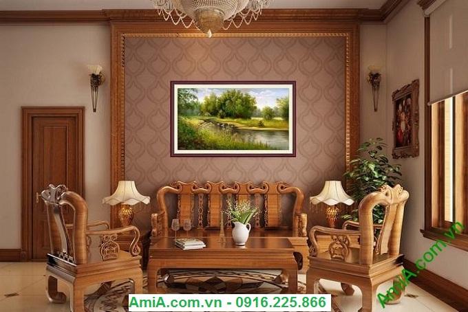 Hình ảnh Tranh phong cảnh đẹp dòng sông thanh bình treo phòng khách