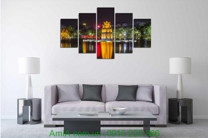 Hình ảnh Tranh phong cảnh trang trí phòng khách hồ gươm về đêm