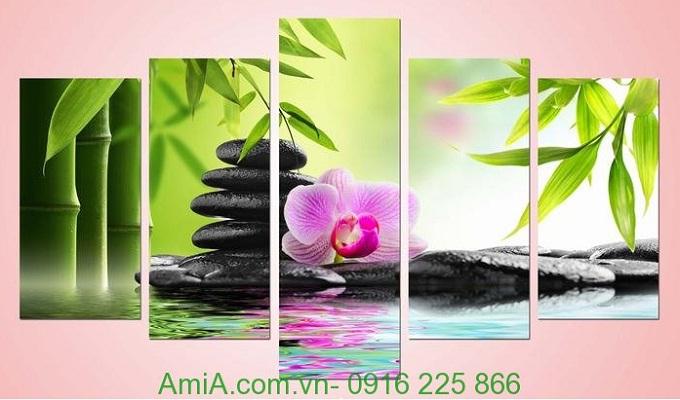 Hình ảnh Tranh phong cảnh trang trí spa đẹp hoa đá amia 942