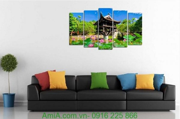 Hình ảnh Tranh phong cảnh treo phòng khách đẹp chùa một cột ghép bộ 5 tấm