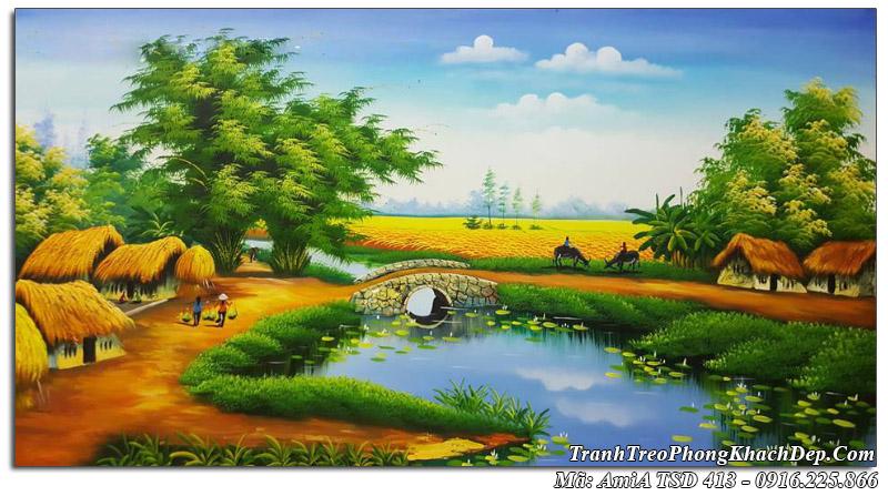 Tranh sơn dầu vẽ cảnh quê hương chăn trâu AmiA TSD 413