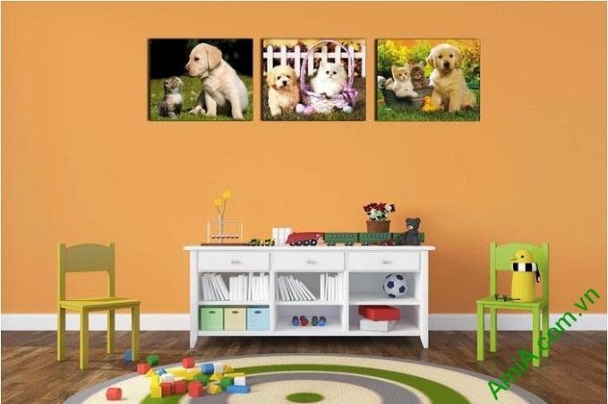 Hình ảnh mẫu Tranh trang trí nhỏ cún mèo đặt treo phòng trẻ em