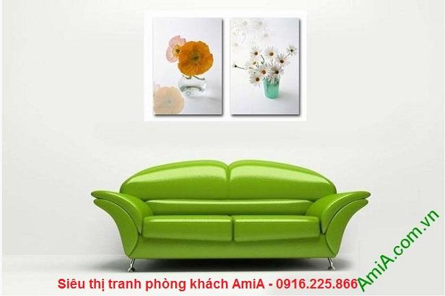 Tranh ghép bộ 2 tấm bình hoa đẹp trang trí phòng khách hiện đại