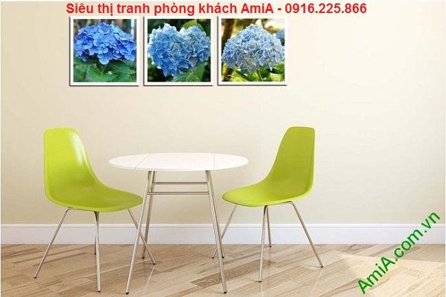 Mẫu tranh trang trí ghép bộ hoa cẩm tú cầu treo phòng ăn