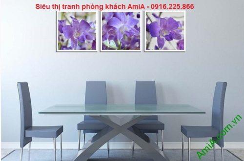 mẫu tranh trang trí nội thất phòng ăn hoa lan tím