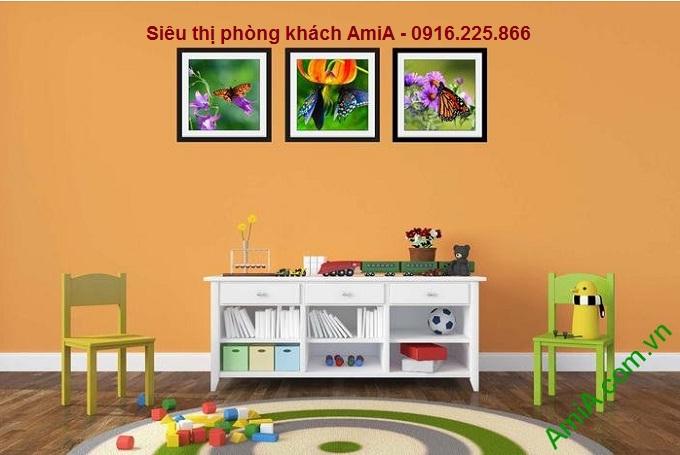 Hình ảnh mẫu tranh trang trí nội thất đẹp hoa bướm treo phòng trẻ em