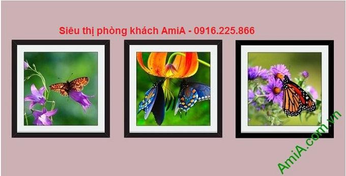 Hình ảnh mẫu tranh trang trí nội thất đẹp sắc màu cuộc sống hoa bướm