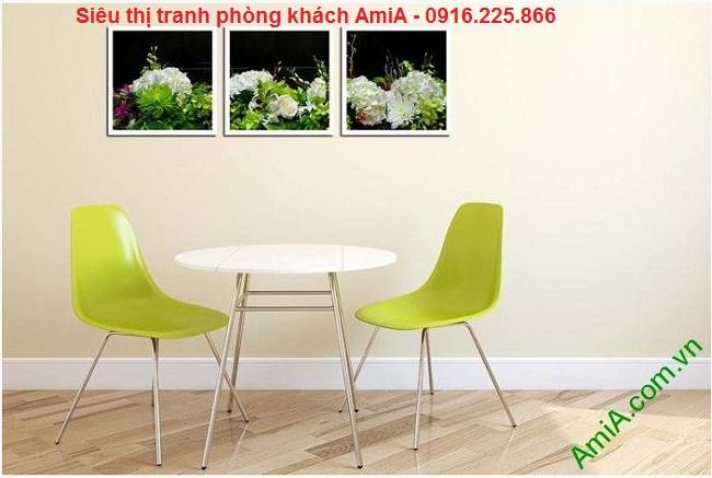 Làm đẹp phòng ăn cùng Tranh trang trí nội thất hoa cẩm tú cầu