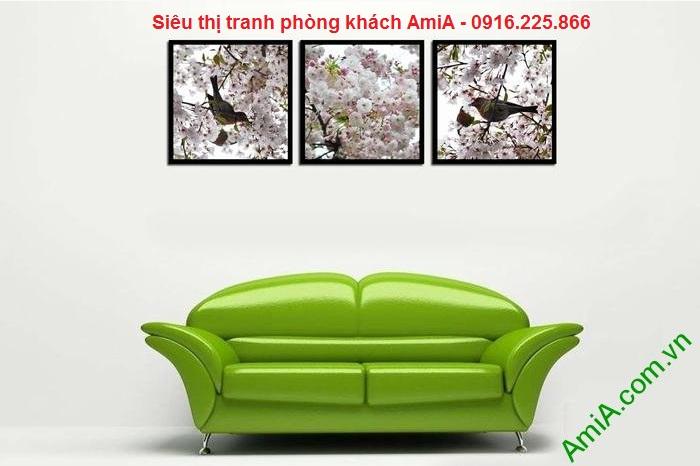 Mẫu thiết kế tranh trang trí nội thất phòng khách hoa anh đào