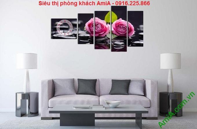Hình ảnh Tranh trang trí phòng khách hoa hồng trên đá