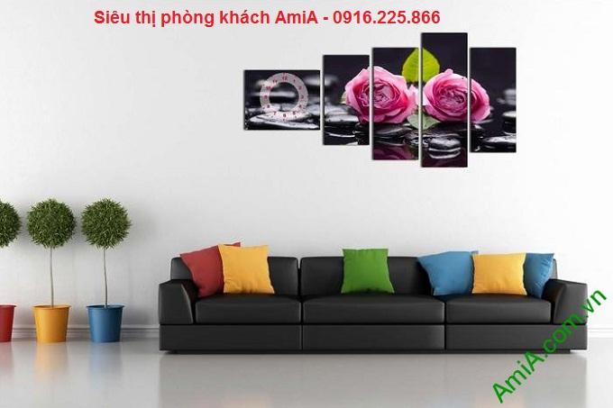 Hình ảnh tranh trang trí phòng khách sang trọng hoa hồng