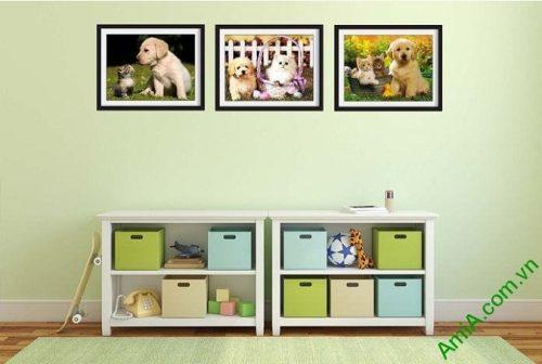Hình ảnh Tranh trang trí phòng trẻ nhỏ đẹp cún mèo