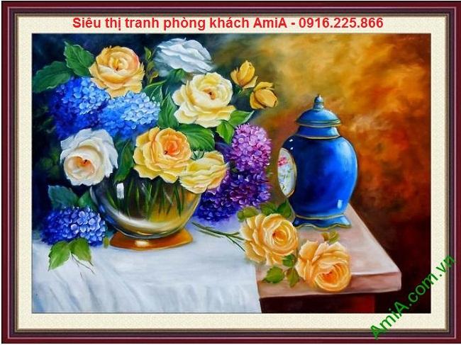 Mẫu tranh treo phòng khách bình hoa nghệ thuật đẹp