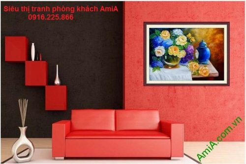 Mẫu tranh treo phòng khách hiện đại bình hoa nghệ thuật