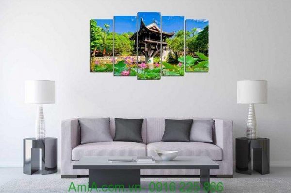 Hình ảnh Tranh phong cảnh treo phòng khách đẹp chùa một cột