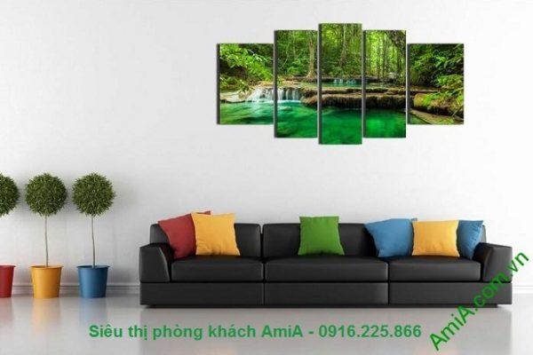 Hình ảnh Tranh treo phòng khách khổ lớn phong cảnh rừng cây