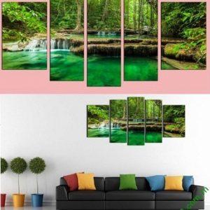 Hình ảnh Tranh treo phòng khách khổ lớn phong cảnh rừng cây xanh