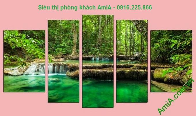 Hình mẫu Tranh treo phòng khách khổ lớn rừng cây xanh treo Tết hợp mệnh HỎA