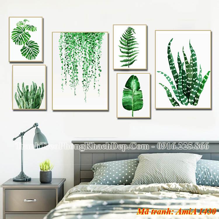 Bộ tranh lá cây amia 1430 treo phòng khách đẹp