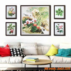 Bộ khung tranh AmiA 1255 hoa lá treo phòng khách