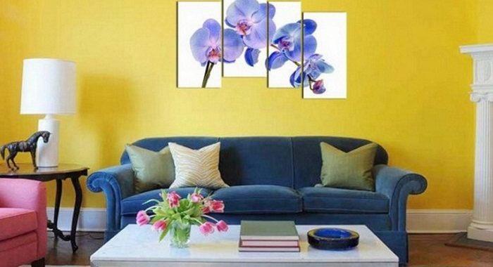 mau tranh hoa phong lan treo tuong phong khach hien dai