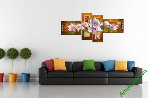 tranh hoa moc lan treo phong khach hien dai