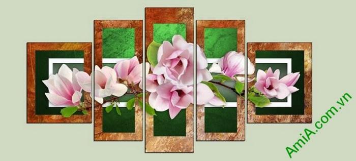 tranh hoa moc lan treo tuong phong khach hien dai