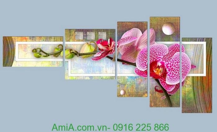 tranh hoa phong lan trang tri phong khach dep