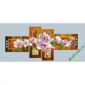 tranh treo phong khách ghep bo hien dai hoa moc lan