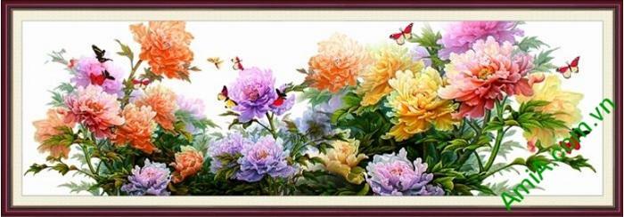 Tranh hoa mau don dep treo phong khach thuoc hanh HOA