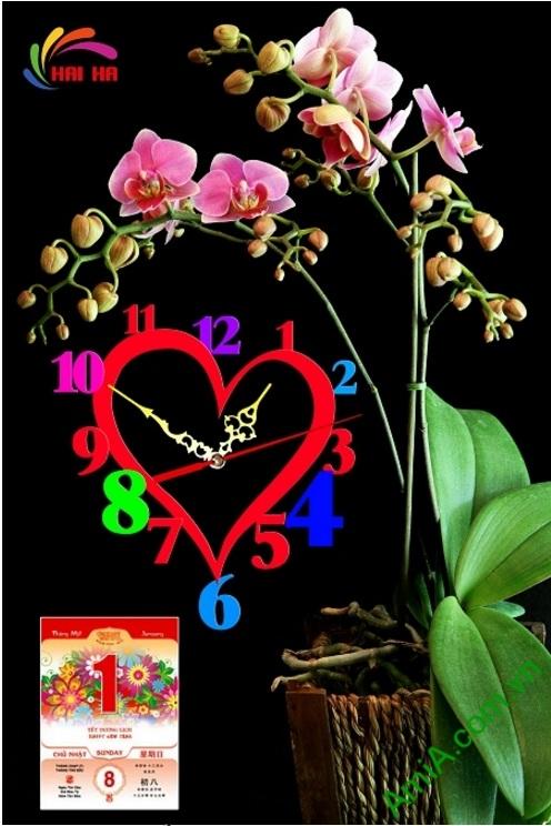 Hình ảnh tranh lịch tết có đồng hồ in logo doanh nghiệp, Mẫu Lichcty-12