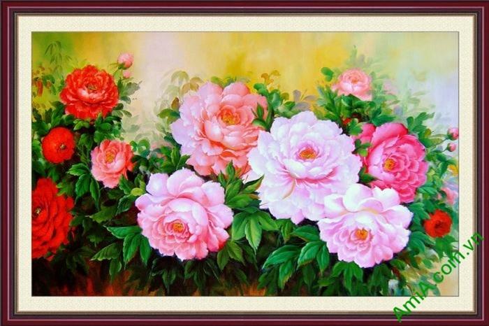 mau tranh hoa mau don dep trang tri phong khach phong ngu