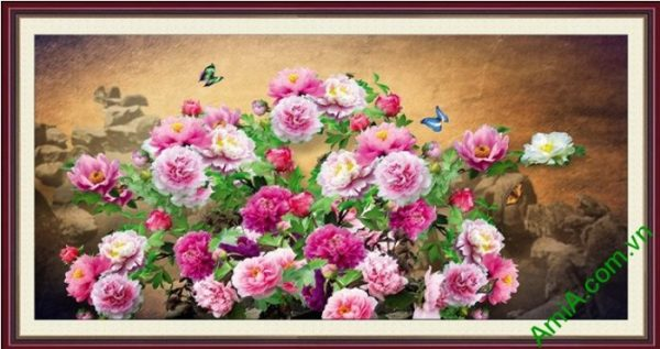 tranh hoa mau don tren nui da