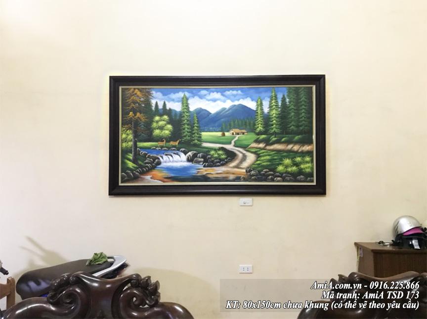 Mau tranh son dau dep AmiA 173 phong canh nui rung song suoi