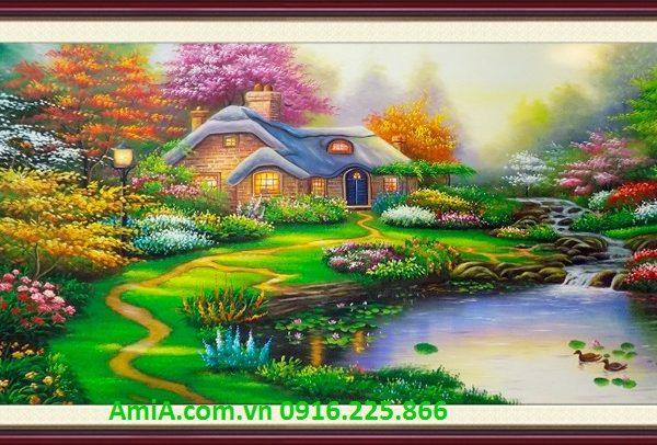 mau tranh ón dau phong canh chau au