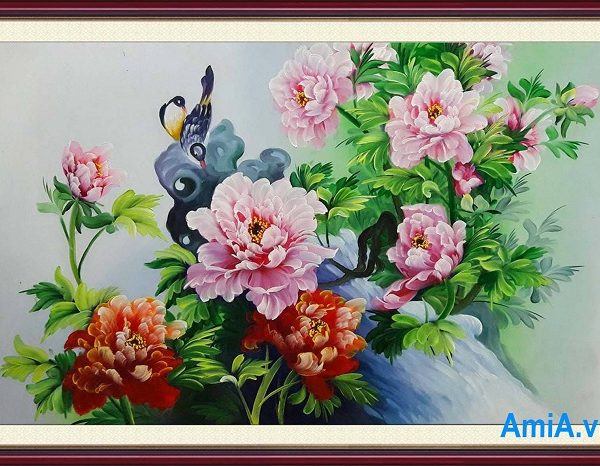 tranh phong khach hoa mau don dep