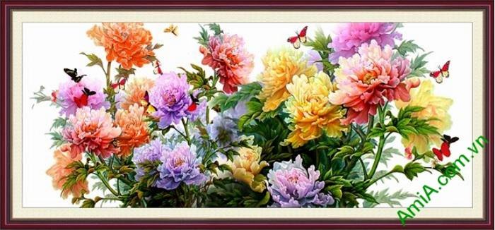 tranh hoa mau don phu quy dep lung linh
