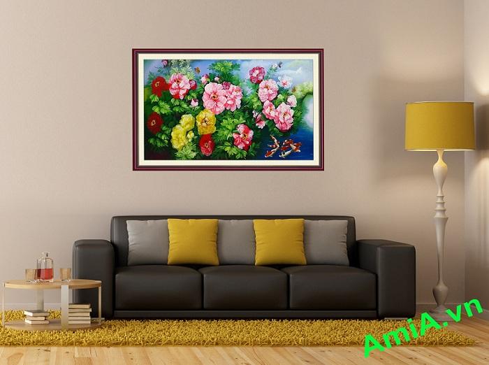 tranh son dau hoa mau don dep