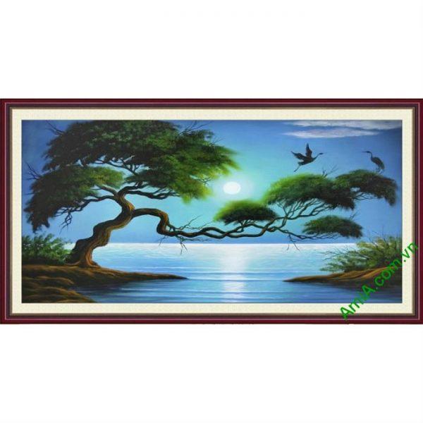 Mẫu tranh phong cảnh đẹp và có ý nghĩa phong thủy trang trí phòng khách
