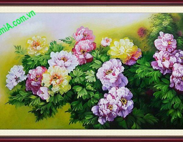 tranh son dau hoa mau don treo phong khach